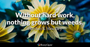 without hard work nothing grows but weeds gordon b hinckley