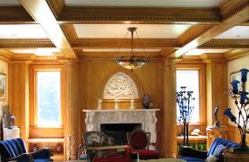 classic library design with coffer ceiling kit in cherry ideas