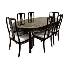 Amazoncom Oriental Furniture Hand Painted On Black Lacquer - Black lacquer dining room set