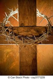 easter cross crown of thorns hanging on a wooden cross at