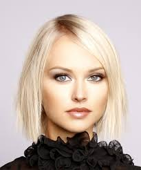 platinum blonde bob hairstyles pictures short straight formal bob hairstyle with side swept bangs light