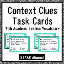 context clues task cards with academic testing vocabulary staar
