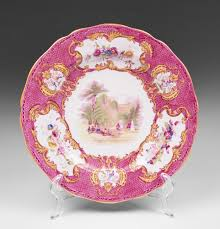 set of ten copeland spode pink transferware luncheon plates from