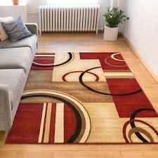 Modern Abstract Area Rugs Arcs And Shapes Red Ivory And Beige Modern Circles Boxes Geometric