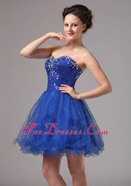 royal blue beaded mini length cocktail dress organza