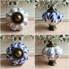 painted ceramic cabinet knobs new 34mm blue leaf hand painted ceramic pumpkin bedroom cupboard