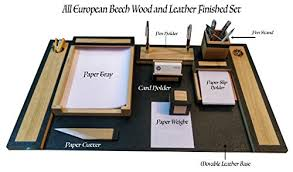 Office Desk Organizer by Slk Wood Products All Wood And Leather Office Desk Organizer Set