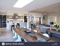 open plan house dining table in large open plan room residential house thurleigh