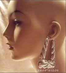 80s hoop earrings large 4 silver retro chunky trapezoid bamboo door knocker 80 s
