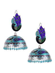 jhumka earrings online buy blue meenakari silver jhumka earrings online at jaypore