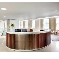 Commercial Reception Desk Circular Reception Desk Lobby Custom Shape Modern Commercial Solid