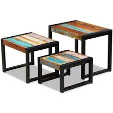 wood nesting coffee table vidaxl set of 3 solid reclaimed wood nesting coffee side end tables