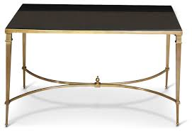Art Deco Coffee Table by Antibes French Art Deco Regency Style Brass Black Granite End