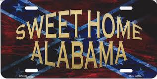 sweet home alabama confederate rebel flag license plate sweet home