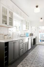 Kitchen Top Cabinets White And Black Kitchen With Glass Upper Cabinets And Black Lower