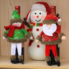 funny christmas table decor santa claus wine bottle cover