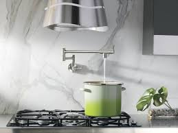 Kitchen Pot Filler Faucets Kitchen With Marble Backsplash And Pot Filler Faucet Useful Pot