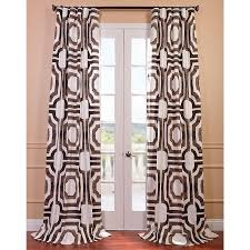 White And Brown Curtains Printed Cotton Brown And White Curtain Panel