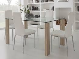 table cuisine verre table à manger en verre avec pied bois longueur 150cm grays