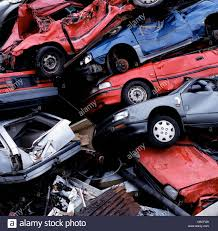 wrecked car wrecked cars in pile at junkyard stock photo royalty free image