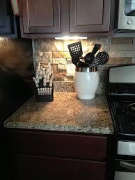 Stone Backsplash Granite Countertops Dark Wood Cabinets Our - Kitchen backsplash with dark cabinets