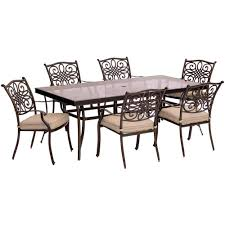 Agio 7 Piece Patio Dining Set - hanover traditions 7 piece aluminum outdoor dining set with