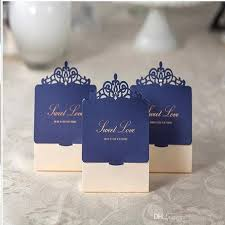 Blue Favor Boxes by Navy Blue And Ivory Laser Cut Invitations Sweet Wedding