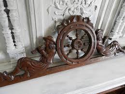 Salvage Home Decor Antique French Carved Wood Pediment 1800s Big Vintage Cabinet