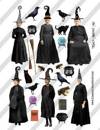 halloween hats digital collage sheet vintage halloween witch images with