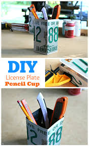 upcycle an old license plate into a cool desk organization piece
