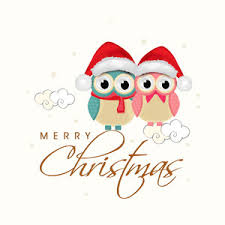 beautiful poster christmas owls wearing santa u0027s cap