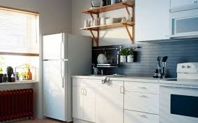 modern ikea kitchen design with white kitchen island and barstools