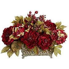 Silk Floral Arrangements Amazon Com Nearly Natural 4665 Peony Centerpiece Silk Flower