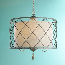 Drum Shade Pendant Light Fixture Metal Lattice Drum With Linen Shade Pendant Light Shades Of Light