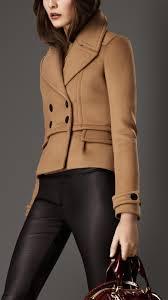 burberry bonded wool cropped pea coat in brown lyst