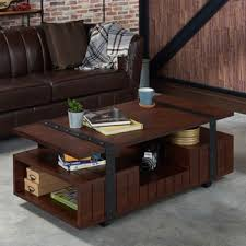 Industrial Style Coffee Table Furniture Of America Sivenza Vintage Walnut Industrial Coffee