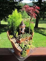 using pots in a garden