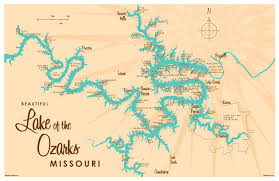 ozarks map lake of the ozarks mo map print with mile markers lakebound