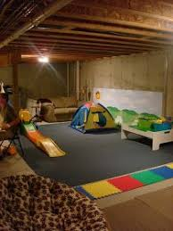 Inexpensive Unfinished Basement Ideas by Our Unfinished Basement Ceiling Toy Room Playroom All Done Out