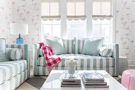 Striped Sofas Living Room Furniture Turquoise Blue And Pink Living Room With Gray Scalloped