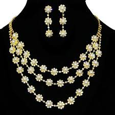 pearls gold necklace sets images Gear shaped design with rhinestone pearl gold plating necklace set jpg