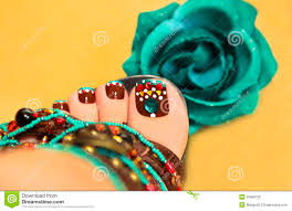 brown turquoise design pedicure stock photos image 33960733