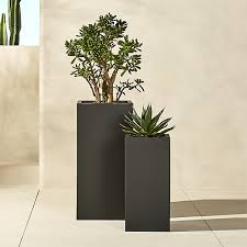 Tall Rectangular Planter by Blox Tall Galvanized Charcoal Planters Cb2
