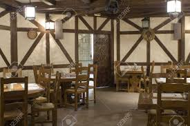 restaurant interior stylized in country style stock photo picture