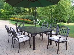 furniture black iron patio dining set with rectangle table and