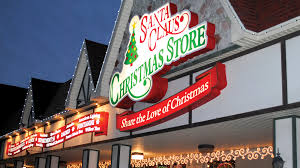 santa land here lighted sign santa claus christmas store in santa claus ind
