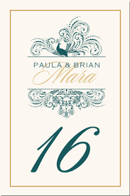 bird themed peacock wedding table numbers vintage table number