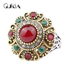 jewelry large rings images Unique retro colourful gold colour wedding ring resin crystal big jpg