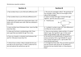 worded simultaneous equations problems by ascj20 teaching