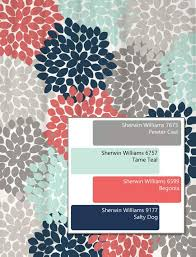 dahlia floral shower curtain in navy coral aqua gray color